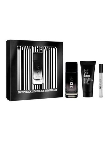 Coffret Carolina Herrera 212 Vip Black Eau de Parfum 100 ml + Shower Gel 100 ml + Edp 10 ml